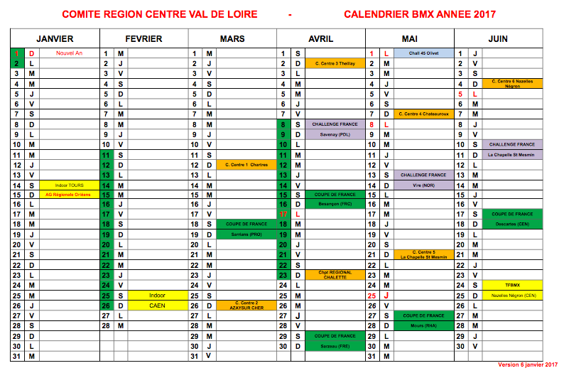Calendrier 2017 Officiel